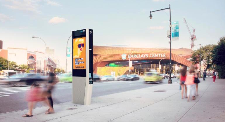 Out in New York City: All phone booths. In in New York City: 10,000 high tech wifi street kiosks.